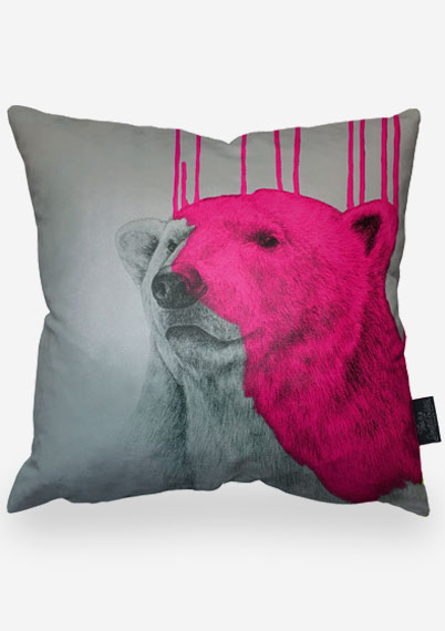 Hey Polar Bear - Pink Pillow