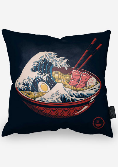The Great Wave of Ramen Pillow