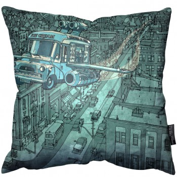 Blue Ice Cream Van Pillow