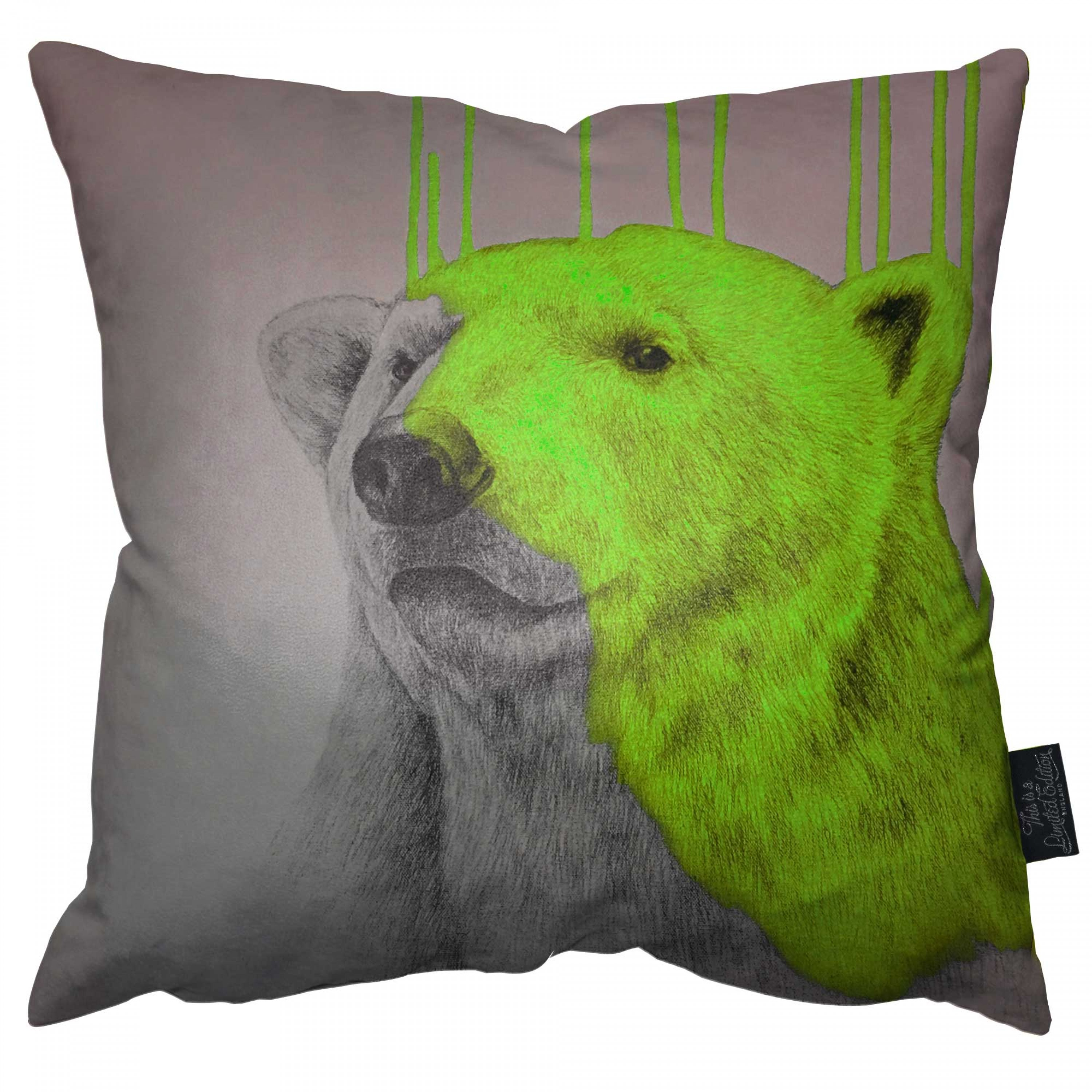 Hey Polar Bear - Green Pillow