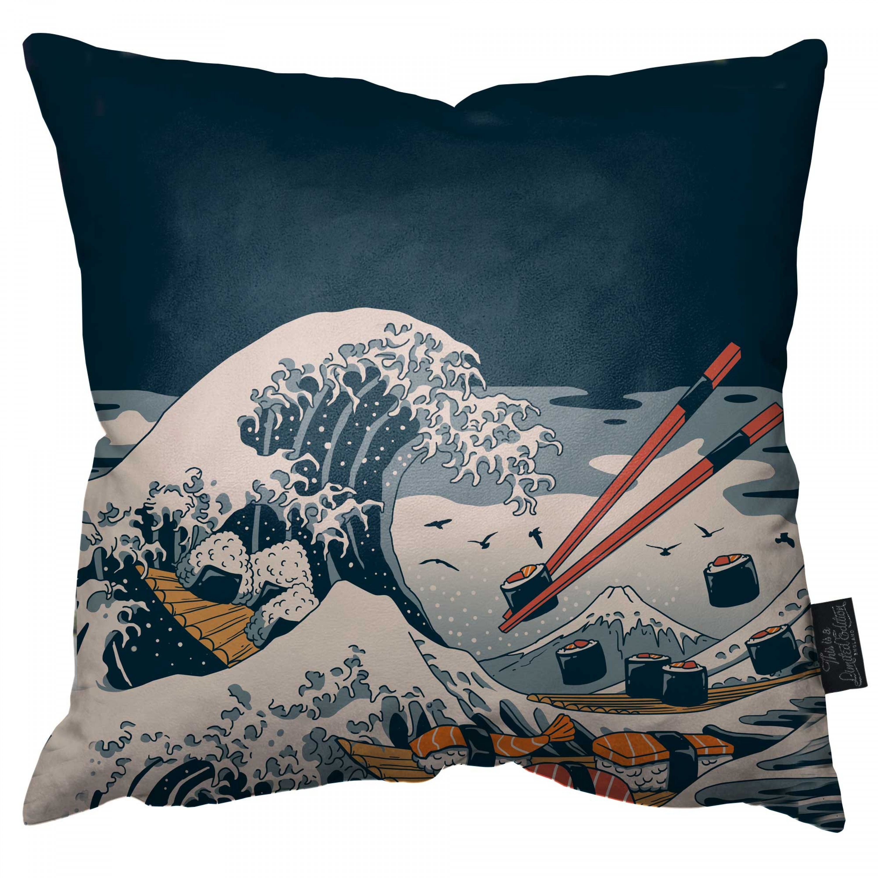 The Great Wave of Sushi Pillow